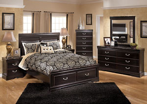 Esmarelda Queen Storage Bed, Dresser & Mirror
