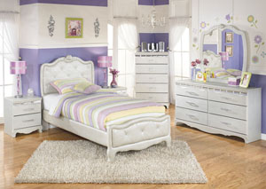 Zarollina Twin Upholstered Bed, Dresser, Mirror & Chest