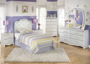 Zarollina Twin Upholstered Headboard, Dresser, Mirror & Chest