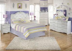 Zarollina Full Upholstered Headboard, Dresser & Mirror