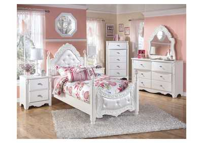 Exquisite Twin Poster Bed, Dresser & Mirror,Signature Design by Ashley