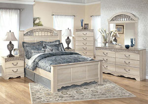 Catalina King Poster Bed, Dresser, Mirror, & Chest
