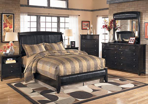 Harmony King Sleigh Bed, Dresser, Mirror & Chest