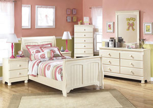 Cottage Retreat Twin Sleigh Bed, Dresser, Mirror & Chest,Signature Design by Ashley