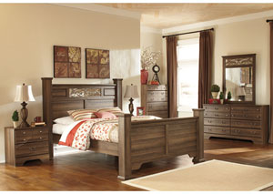 Allymore Queen Poster Bed, Dresser & Mirror