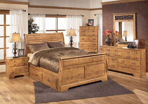Bittersweet Queen Sleigh Bed w/ Storage, Dresser, Mirror & Chest