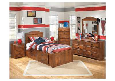 Barchan Twin Panel Bed w/ Storage, Dresser, Mirror & Chest