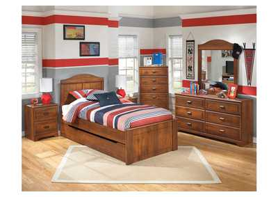 Barchan Twin Panel Bed w/ Trundle, Dresser, Mirror, Chest & Night Stand
