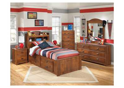 Barchan Twin Bookcase Bed w/ Storage, Dresser, Mirror, Chest & Night Stand