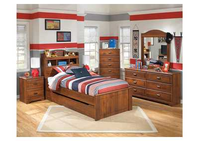 Barchan Twin Bookcase Bed w/ Trundle, Dresser, Mirror, Chest & Night Stand