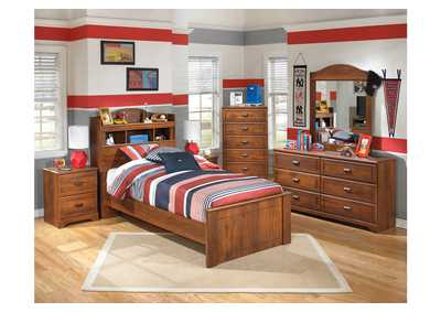 Barchan Twin Bookcase Bed, Dresser, Mirror & Chest