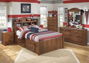 Barchan Full Bookcase Bed w/ Storage, Dresser, Mirror, Chest & Night Stand