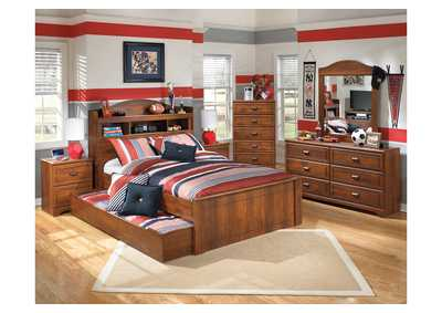 Barchan Full Bookcase Bed w/ Trundle, Dresser & Mirror