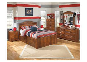 Barchan Full Panel Bed w/ Storage, Dresser & Mirror