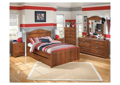 Barchan Full Panel Bed w/ Trundle, Dresser, Mirror & Chest
