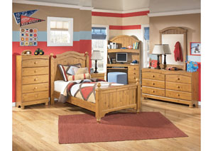 Stages Twin Poster Bed, Dresser, Mirror, Chest & Night Stand