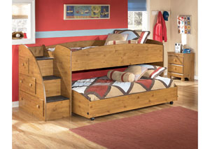 Stages Twin Loft Bed w/ Caster Bed & Storage Stairs