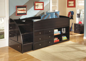 Embrace Twin Loft Bed w/ Bookcase, Storage & Stairs