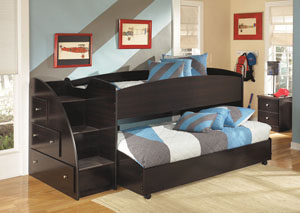 Embrace Twin Loft Bed w/ Caster Bed & Storage Stairs,Signature Design by Ashley