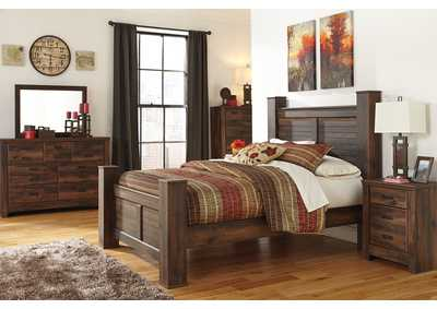 Quinden Queen Poster Bed, Dresser, Mirror, Chest & Night Stand,Signature Design by Ashley