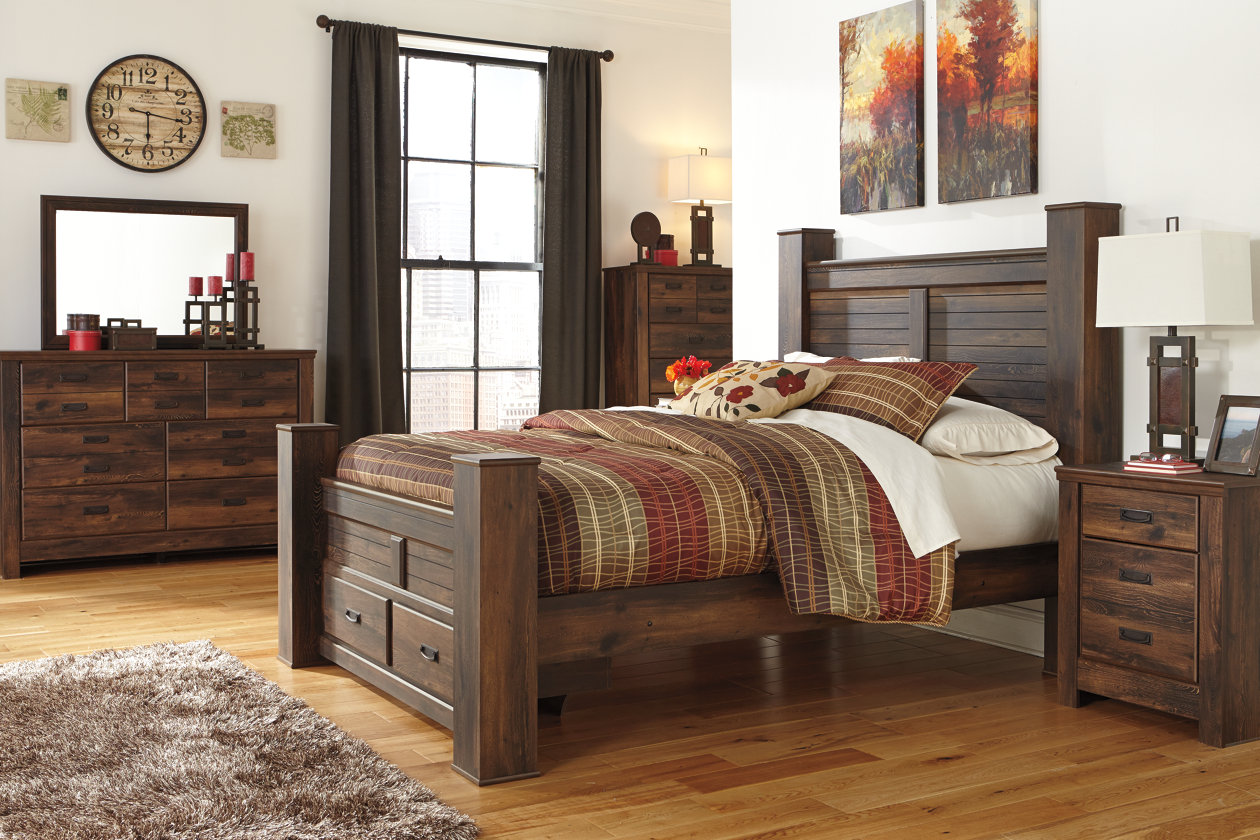Quinden Queen Poster Storage Bed, Dresser, Mirror & Chest,Signature Design by Ashley