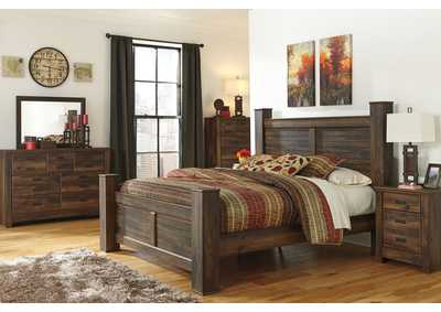 Quinden King Poster Bed, Dresser, Mirror, Chest & Night Stand,Signature Design by Ashley