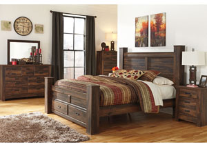 Quinden King Poster Storage Bed, Dresser, Mirror, Chest & Night Stand