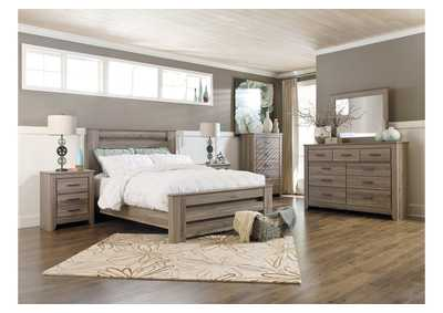 Zelen King Poster Bed, Dresser, Mirror, Chest & Night Stand,Signature Design by Ashley