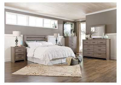 Zelen Queen/Full Poster Headboard, Dresser, Mirror, Chest & Night Stand