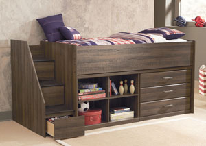 Juararo Twin Loft Bed w/ Left Storage Steps, Bookcase, & Drawers,Signature Design by Ashley