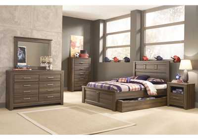 Juararo Full Panel Storage Bed, Youth Dresser, Mirror & Chest