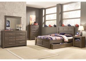 Juararo Full Panel Storage Bed, Youth Dresser & Mirror
