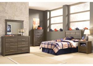 Juararo Full Panel Headboard, Youth Dresser, Mirror, Chest & One Drawer Night Stand