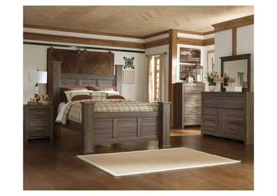 Juararo Queen Poster Bed, Dresser, Mirror & Chest