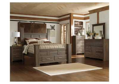 Juararo Queen Poster Storage Bed, Dresser, Mirror & Chest