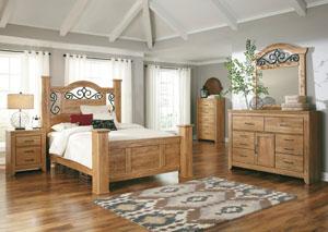 Drogan Queen Poster Bed, Dresser, Mirror & Chest