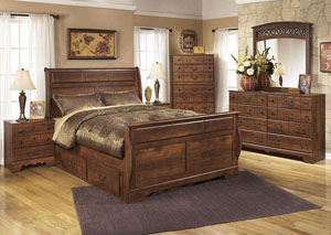 Timberline Queen Sleigh Bed w/ Storage, Dresser, Mirror, Chest & Night Stand,Signature Design by Ashley