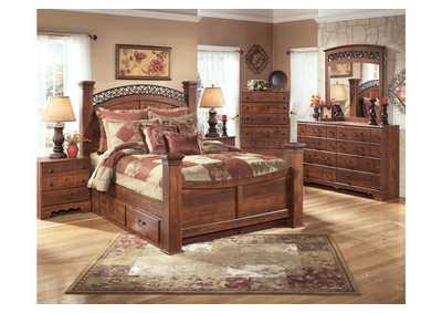 Timberline King Poster Bed w/ Storage, Dresser, Mirror, Chest & Night Stand