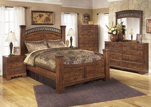 Timberline Queen Poster Bed, Dresser, Mirror, Chest & Night Stand