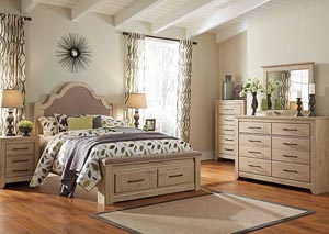 Annilynn Queen Upholstered Storage Bed, Dresser & Mirror