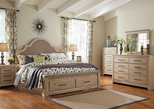 Annilynn King Upholstered Storage Bed, Dresser & Mirror