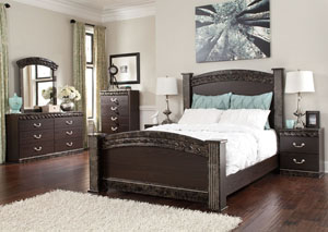 Vachel Queen Poster Bed, Dresser, Mirror & Night Stand,Signature Design by Ashley