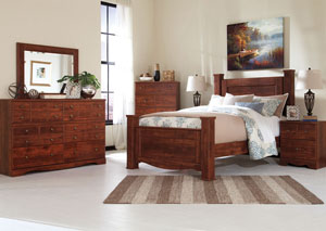 Brittberg Reddish Brown Queen Poster Bed,Signature Design by Ashley