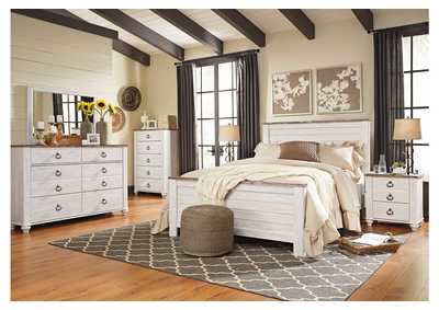 Willowton Whitewash Queen/Full Panel Bed w/Dresser and Mirror,Signature Design by Ashley