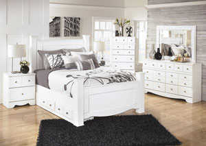 Weeki Queen Poster Storage Bed, Dresser, Mirror & Chest