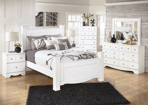 Weeki King Poster Bed, Dresser, Mirror, Chest & Night Stand