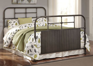 Brushed Pewter Finish Metal Queen Bed