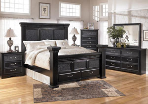 Cavallino Queen Mansion Bed w/ Storage, Dresser, Mirror, Chest & Three Drawer Night Stand