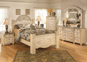 Saveaha Queen Poster Bed, Dresser & Mirror
