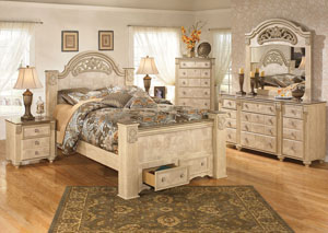 Saveaha Queen Poster Storage Bed, Dresser & Mirror